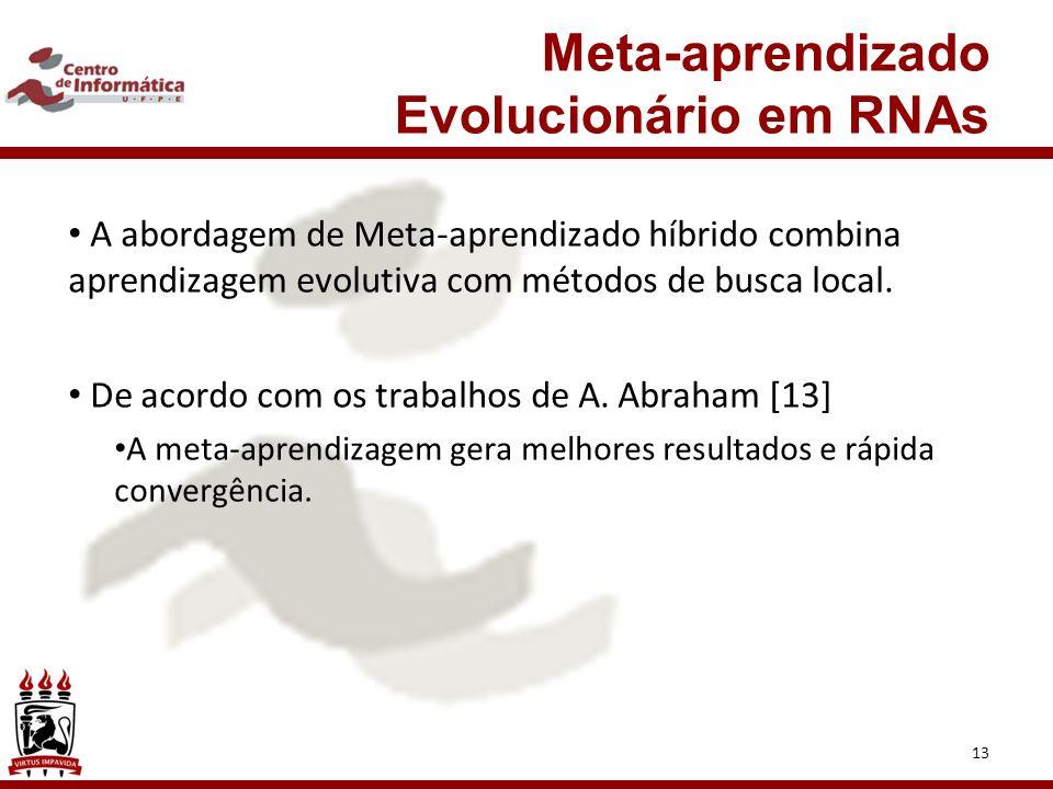 13 Meta-aprendizado Evolucionário em RNAs A abordagem de Meta-aprendizado híbrido combina aprendizagem evolutiva com métodos de busca local.