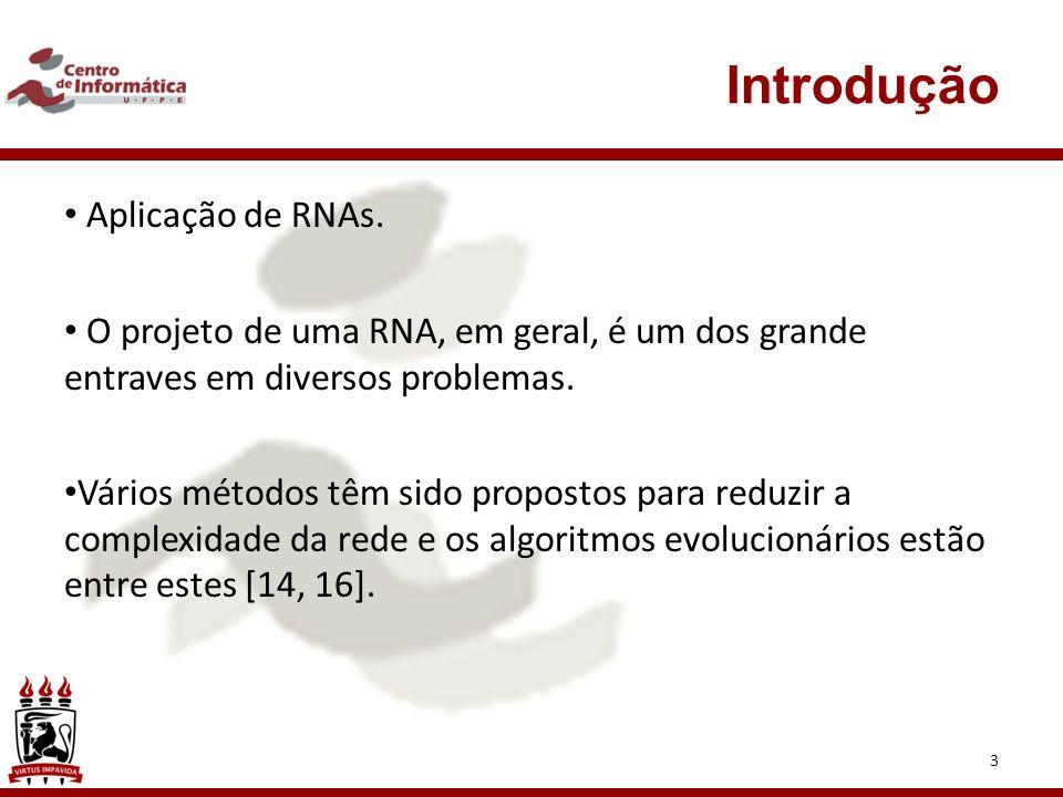 Introdução 3 Aplicação de RNAs.