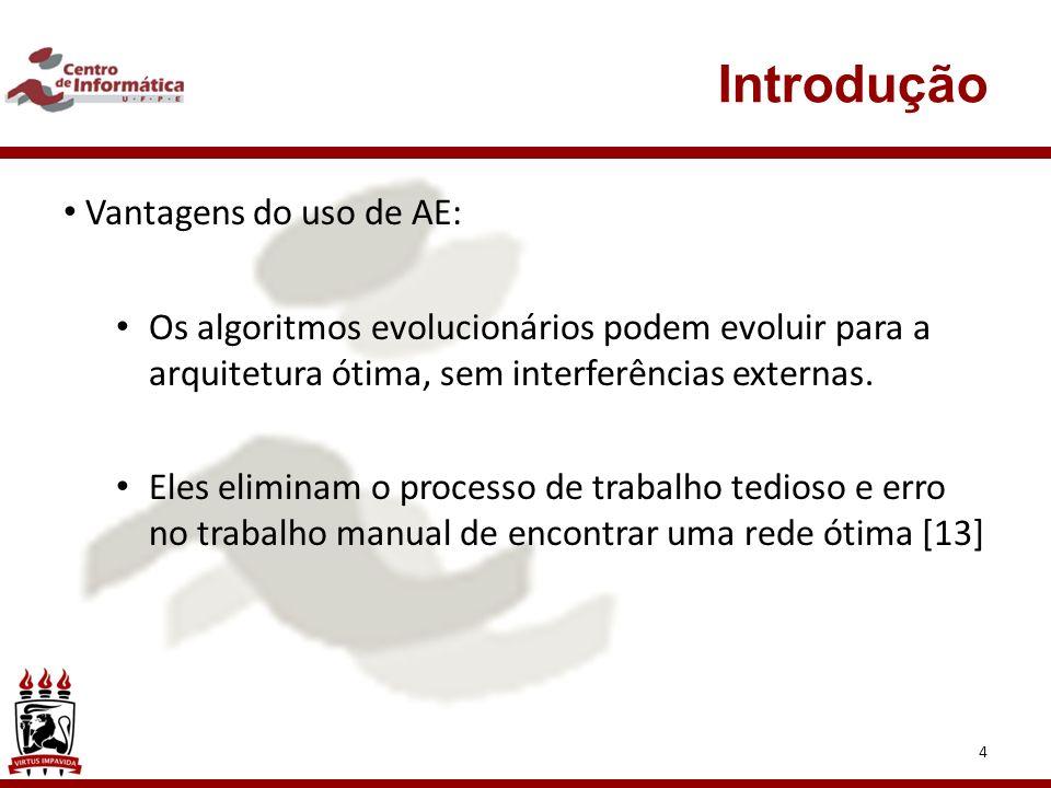 Introdução 4 Vantagens do uso de AE: Os algoritmos evolucionários podem evoluir para a arquitetura ótima, sem interferências externas.