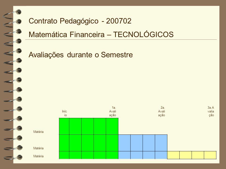 Avaliações durante o Semestre Contrato Pedagógico - 200702 Matemática Financeira – TECNOLÓGICOS Iníc io 1a. Avali ação 2a. Avali ação 3a.A valia ção M