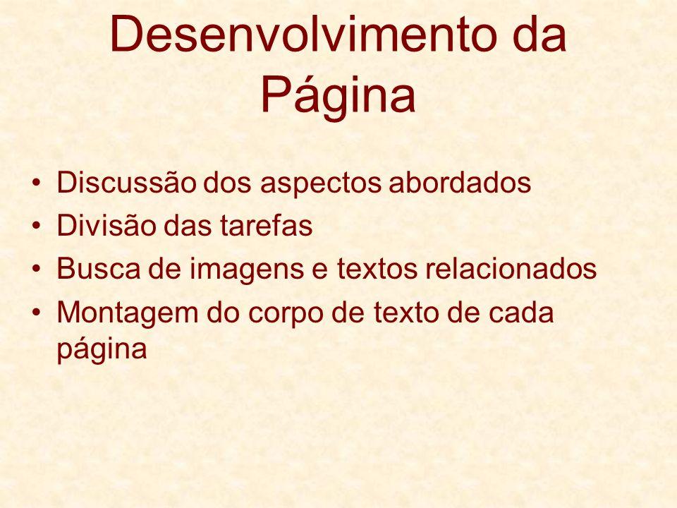 Desenvolvimento da Página Discussão dos aspectos abordados Divisão das tarefas Busca de imagens e textos relacionados Montagem do corpo de texto de ca