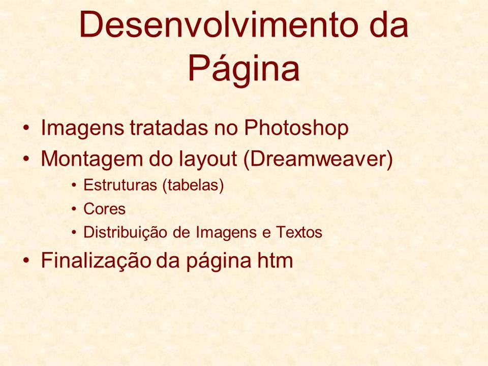 Desenvolvimento da Página Imagens tratadas no Photoshop Montagem do layout (Dreamweaver) Estruturas (tabelas) Cores Distribuição de Imagens e Textos F