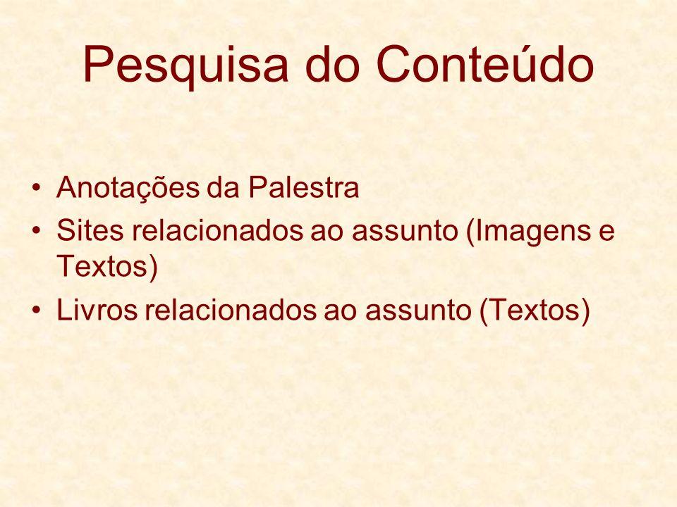 Pesquisa do Conteúdo Anotações da Palestra Sites relacionados ao assunto (Imagens e Textos) Livros relacionados ao assunto (Textos)