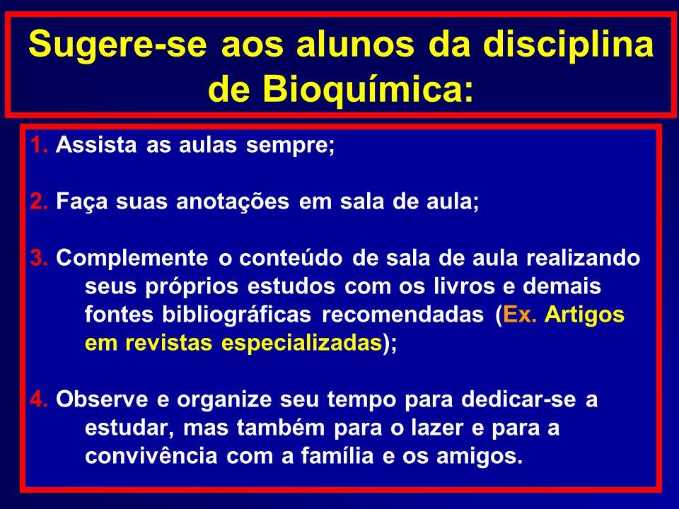 Sugere-se aos alunos da disciplina de Bioquímica: 1. Assista as aulas sempre; 2. Faça suas anotações em sala de aula; 3. Complemente o conteúdo de sal