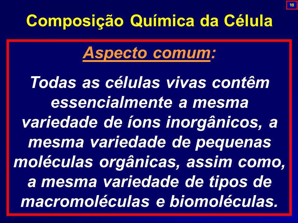Aspecto comum: Todas as células vivas contêm essencialmente a mesma variedade de íons inorgânicos, a mesma variedade de pequenas moléculas orgânicas,