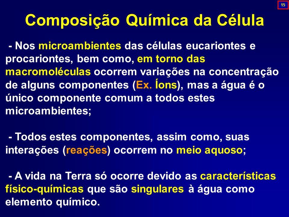 - Nos microambientes das células eucariontes e procariontes, bem como, em torno das macromoléculas ocorrem variações na concentração de alguns compone