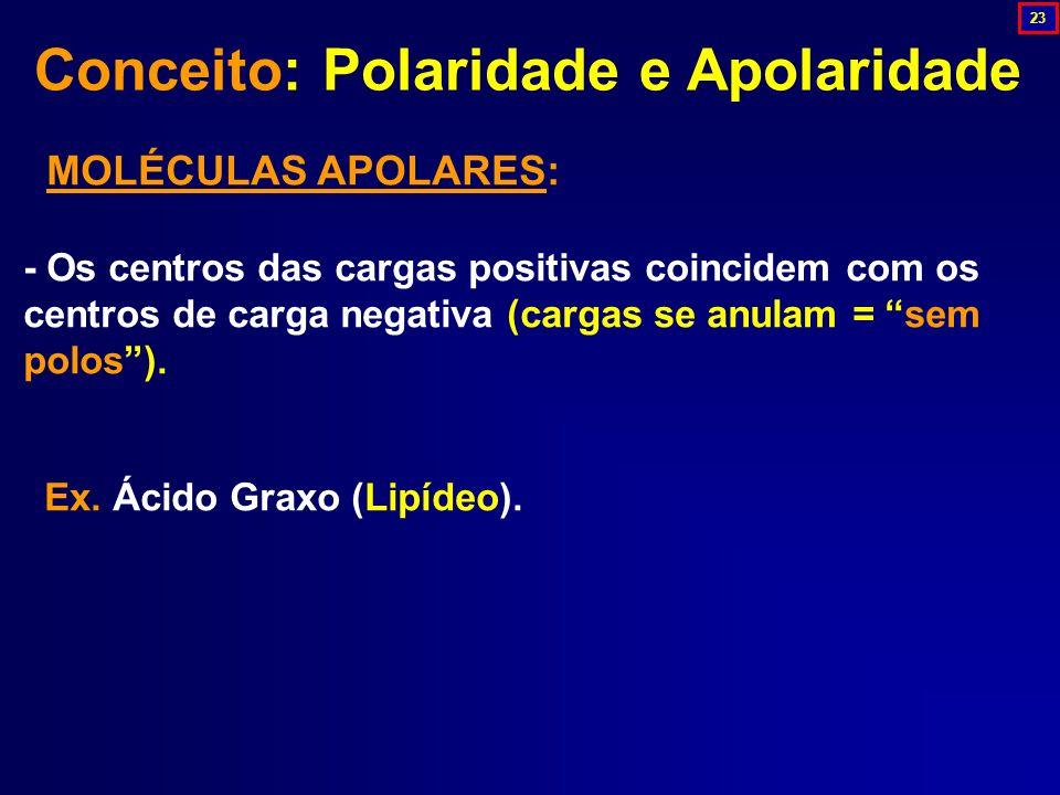 MOLÉCULAS APOLARES: - Os centros das cargas positivas coincidem com os centros de carga negativa (cargas se anulam = sem polos). Ex. Ácido Graxo (Lipí