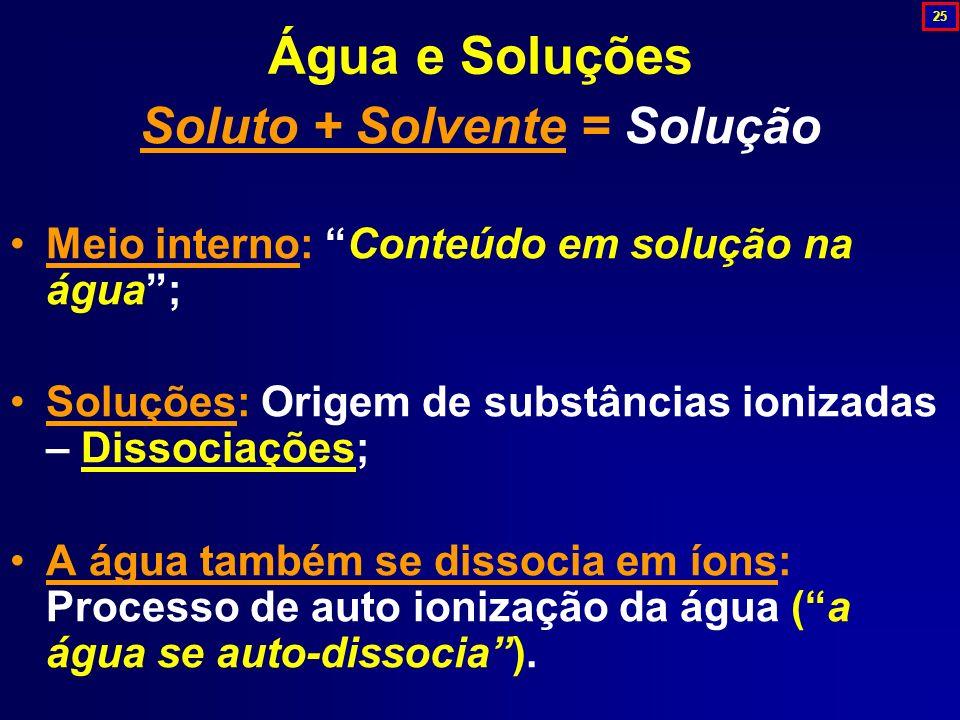 Água e Soluções Soluto + Solvente = Solução Meio interno: Conteúdo em solução na água; Soluções: Origem de substâncias ionizadas – Dissociações; A águ