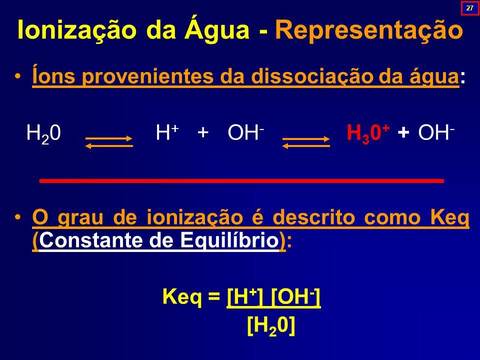 Íons provenientes da dissociação da água: H 2 0 H + + OH - H 3 0 + + OH - O grau de ionização é descrito como Keq (Constante de Equilíbrio): Keq = [H