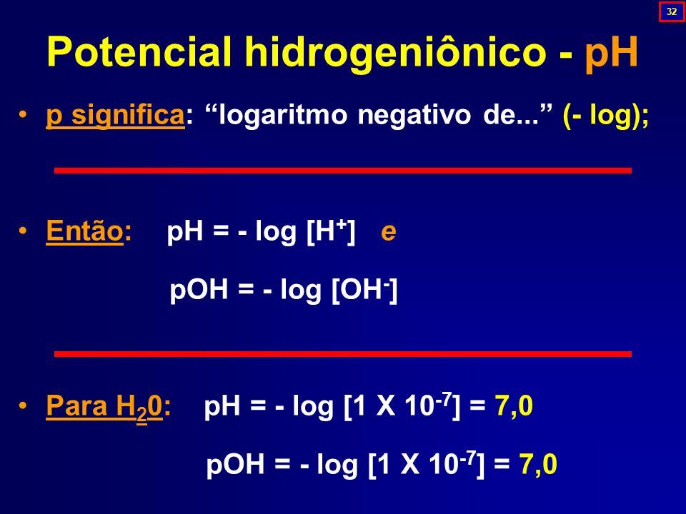 p significa: logaritmo negativo de... (- log); Então: pH = - log [H + ] e pOH = - log [OH - ] Para H 2 0: pH = - log [1 X 10 -7 ] = 7,0 pOH = - log [1