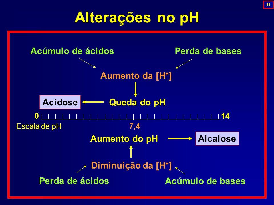 Alterações no pH Aumento da [H + ] 7,4 Acidose Alcalose Queda do pH Acúmulo de ácidos Acúmulo de bases Perda de ácidos Perda de bases Diminuição da [H
