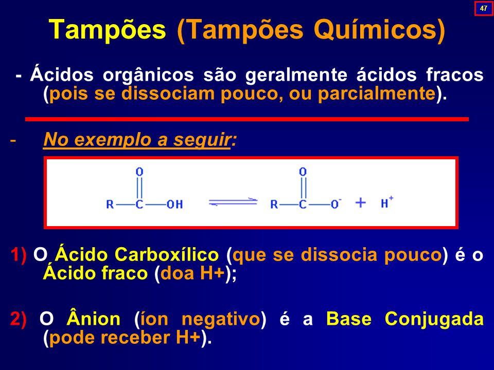 Tampões (Tampões Químicos) - Ácidos orgânicos são geralmente ácidos fracos (pois se dissociam pouco, ou parcialmente). -No exemplo a seguir: 1) O Ácid