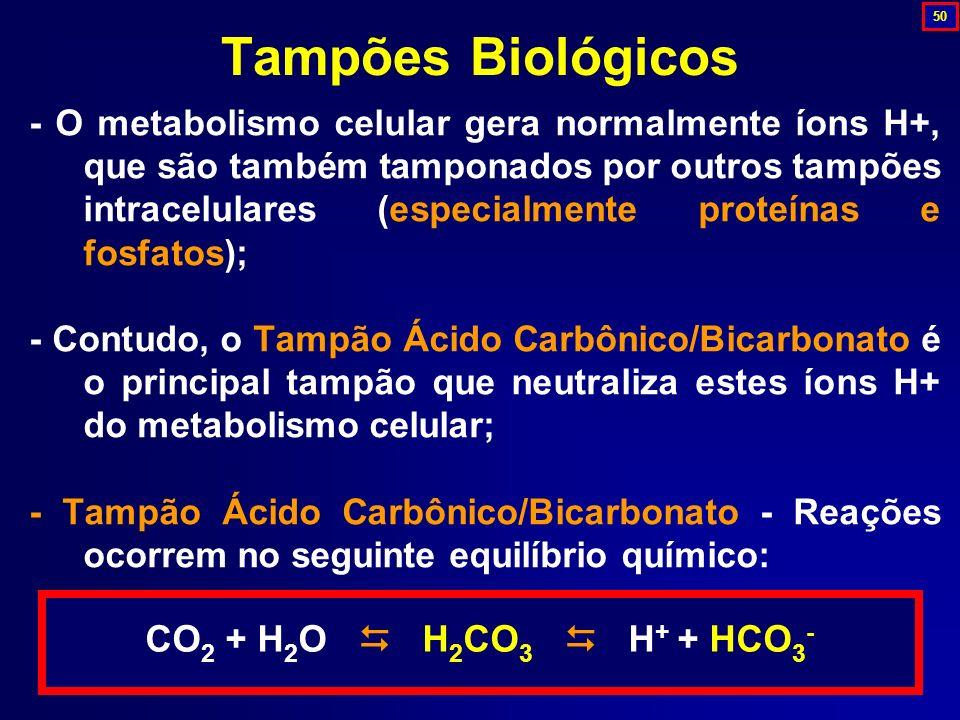 - O metabolismo celular gera normalmente íons H+, que são também tamponados por outros tampões intracelulares (especialmente proteínas e fosfatos); -