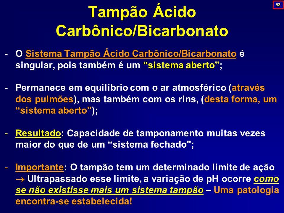 Tampão Ácido Carbônico/Bicarbonato -O Sistema Tampão Ácido Carbônico/Bicarbonato é singular, pois também é um sistema aberto; -Permanece em equilíbrio