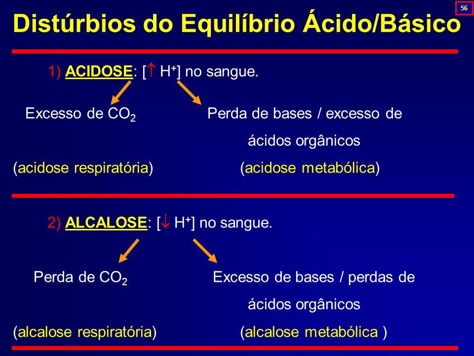 Distúrbios do Equilíbrio Ácido/Básico 1) ACIDOSE: [ H + ] no sangue. Excesso de CO 2 Perda de bases / excesso de ácidos orgânicos (acidose respiratóri