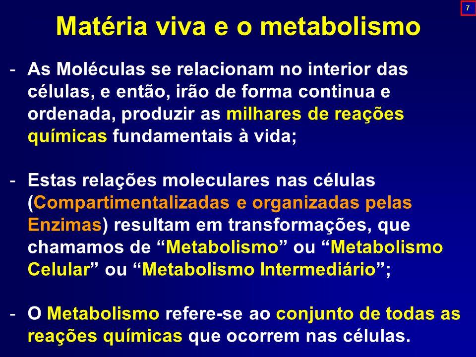 -As Moléculas se relacionam no interior das células, e então, irão de forma continua e ordenada, produzir as milhares de reações químicas fundamentais