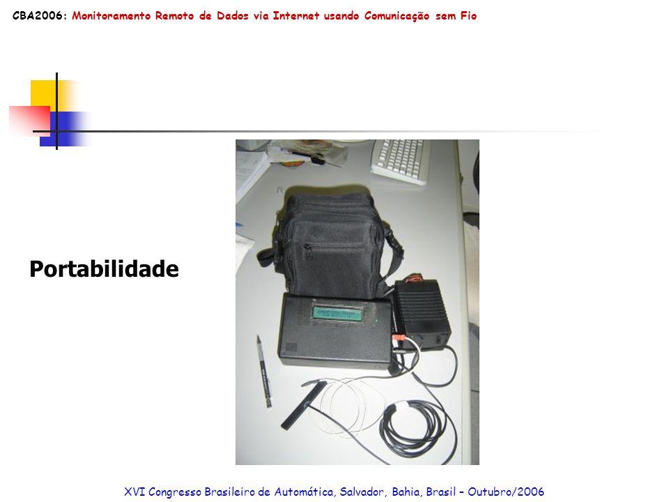 Portabilidade XVI Congresso Brasileiro de Automática, Salvador, Bahia, Brasil – Outubro/2006 CBA2006: Monitoramento Remoto de Dados via Internet usand