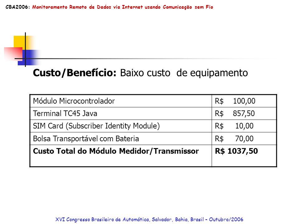 Custo/Benefício: Baixo custo de equipamento Módulo MicrocontroladorR$ 100,00 Terminal TC45 JavaR$ 857,50 SIM Card (Subscriber Identity Module)R$ 10,00