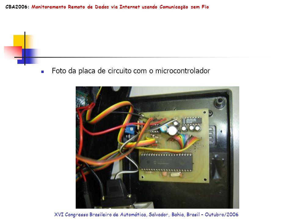 Foto da placa de circuito com o microcontrolador XVI Congresso Brasileiro de Automática, Salvador, Bahia, Brasil – Outubro/2006 CBA2006: Monitoramento