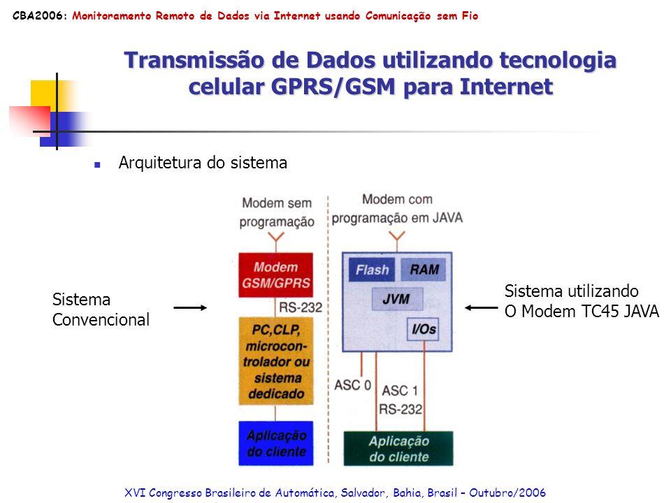 Transmissão de Dados utilizando tecnologia celular GPRS/GSM para Internet Arquitetura do sistema Sistema Convencional Sistema utilizando O Modem TC45