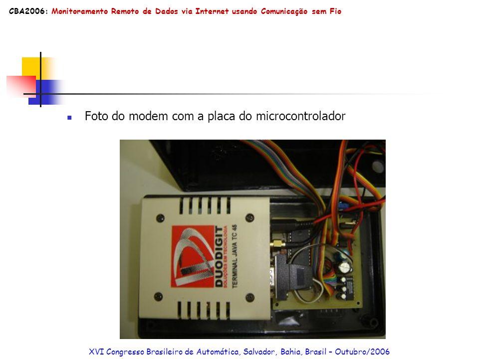 Armazenamento/Disponibilidade de Dados via plataforma Web Arquitetura completa XVI Congresso Brasileiro de Automática, Salvador, Bahia, Brasil – Outubro/2006 CBA2006: Monitoramento Remoto de Dados via Internet usando Comunicação sem Fio