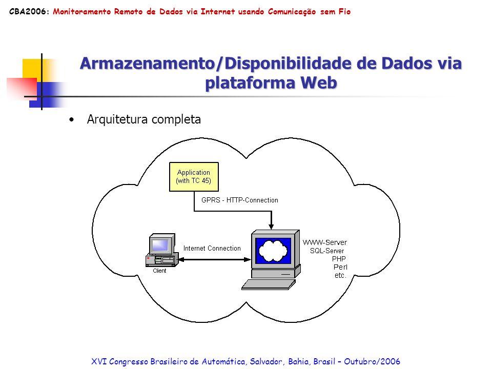 Armazenamento/Disponibilidade de Dados via plataforma Web Arquitetura completa XVI Congresso Brasileiro de Automática, Salvador, Bahia, Brasil – Outub