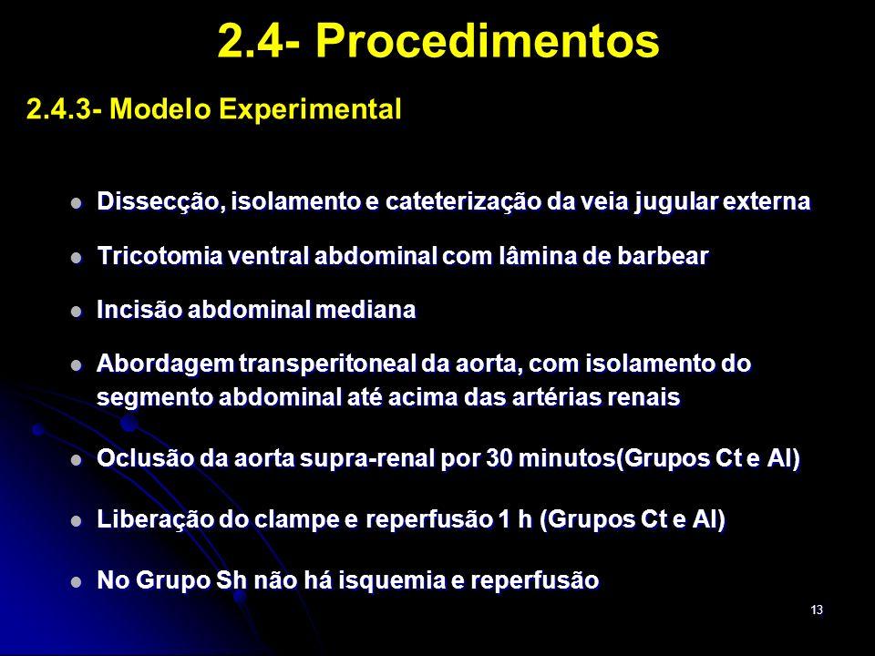 13 2.4- Procedimentos 2.4.3- Modelo Experimental Dissecção, isolamento e cateterização da veia jugular externa Dissecção, isolamento e cateterização d