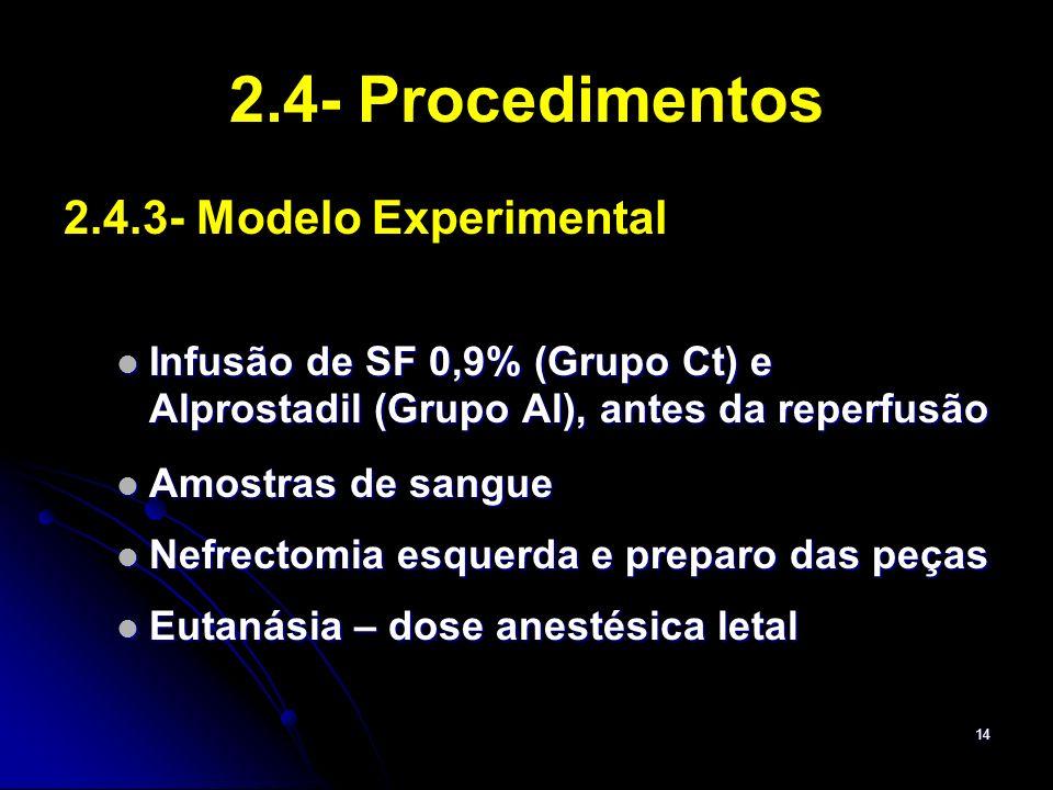 14 2.4- Procedimentos 2.4.3- Modelo Experimental Infusão de SF 0,9% (Grupo Ct) e Alprostadil (Grupo Al), antes da reperfusão Infusão de SF 0,9% (Grupo