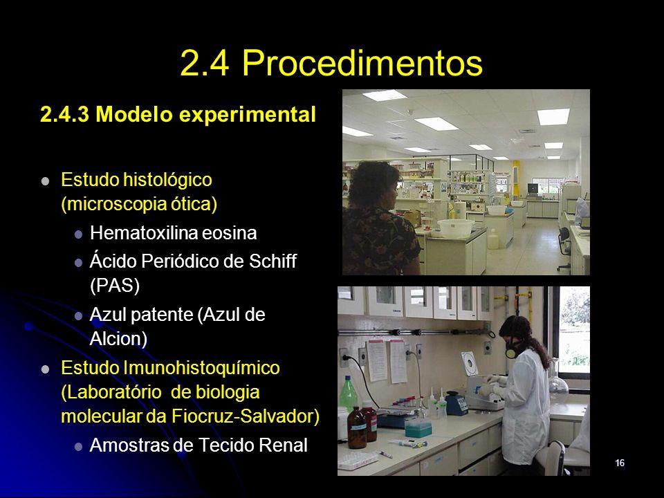 16 2.4 Procedimentos 2.4.3 Modelo experimental Estudo histológico (microscopia ótica) Hematoxilina eosina Ácido Periódico de Schiff (PAS) ) Azul paten