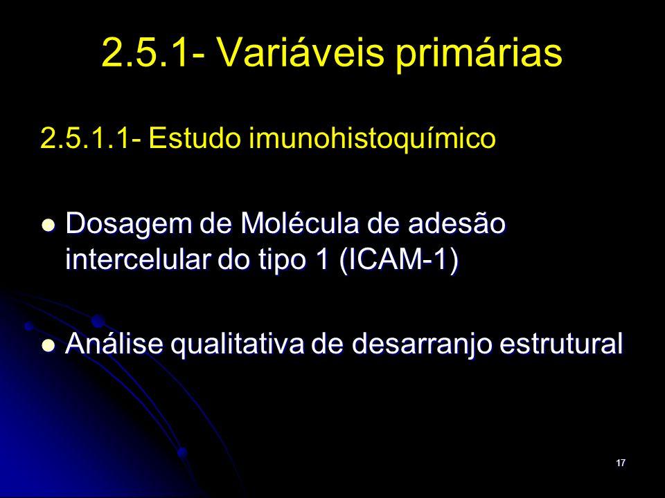 17 2.5.1- Variáveis primárias 2.5.1.1- Estudo imunohistoquímico Dosagem de Molécula de adesão intercelular do tipo 1 (ICAM-1) Dosagem de Molécula de a