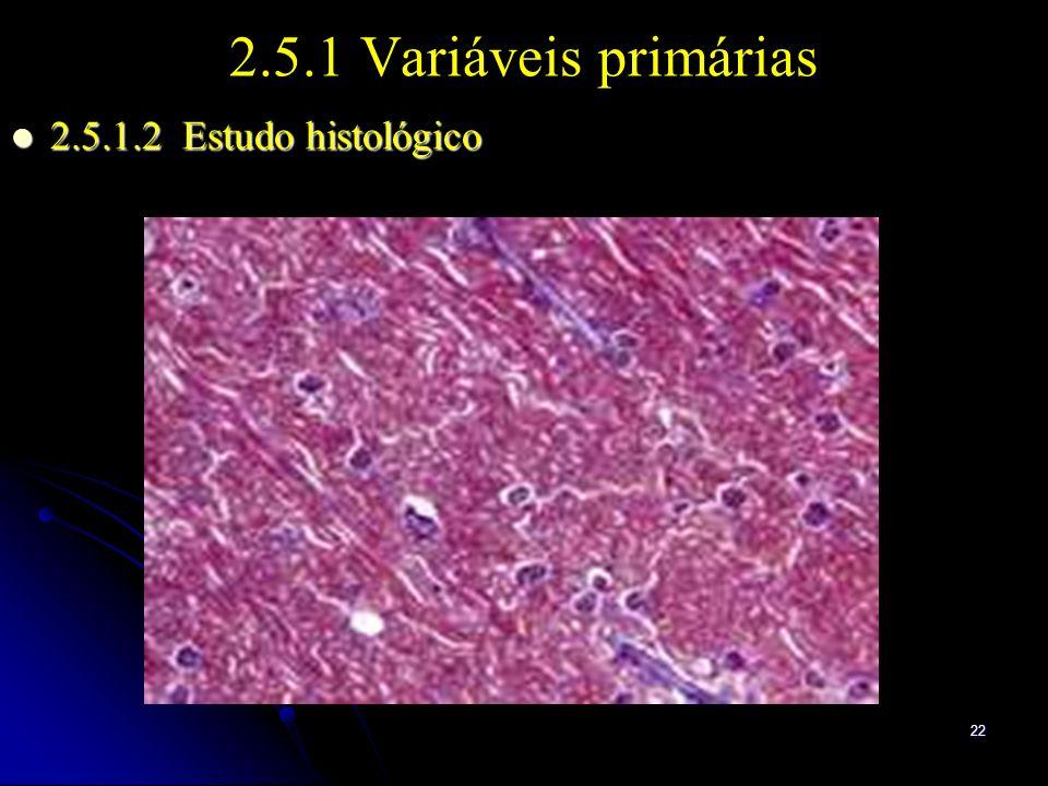 22 2.5.1 Variáveis primárias 2.5.1.2 Estudo histológico 2.5.1.2 Estudo histológico