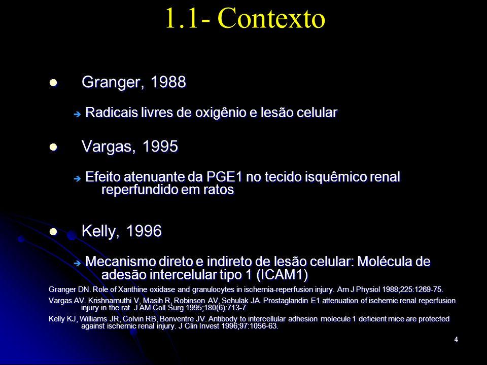 5 1.1- Contexto Alprostadil: análogo da prostaglandina (PGE1) Alprostadil: análogo da prostaglandina (PGE1) Vargas, 1995 Vargas, 1995 Bloqueio de substâncias quimioatrativas Bloqueio de substâncias quimioatrativas Linderman, 1998 Linderman, 1998 Diminuição da adesividade leucocitária Diminuição da adesividade leucocitária Gupta, 1998 Gupta, 1998 Diminuição da expressão das moléculas ICAM-1 Diminuição da expressão das moléculas ICAM-1 Linderman, 1998 Linderman, 1998 Diminuição da resistência vascular periférica Diminuição da resistência vascular periférica Vargas AV.