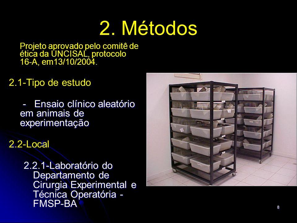 8 2. Métodos Projeto aprovado pelo comitê de ética da UNCISAL, protocolo 16-A, em13/10/2004. 2.1-Tipo de estudo - Ensaio clínico aleatório em animais