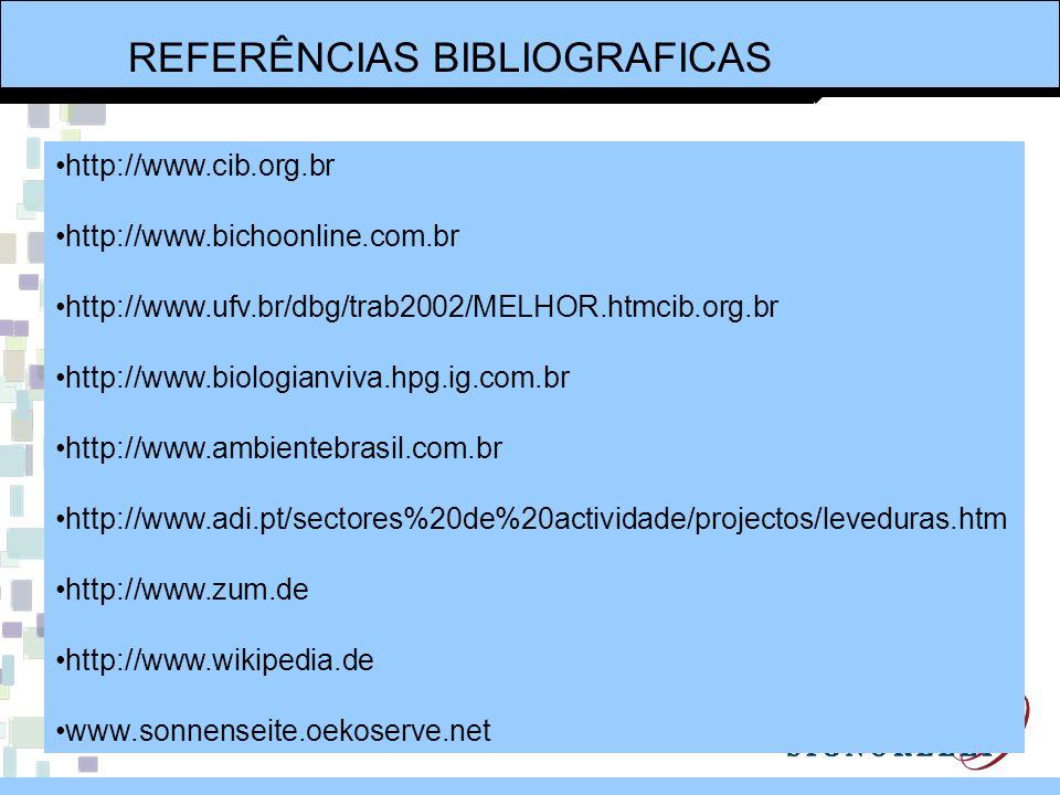REFERÊNCIAS BIBLIOGRAFICAS http://www.cib.org.br http://www.bichoonline.com.br http://www.ufv.br/dbg/trab2002/MELHOR.htmcib.org.br http://www.biologia
