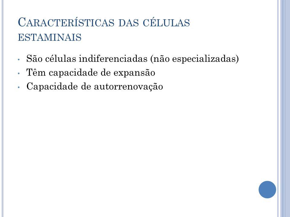C ARACTERÍSTICAS DAS CÉLULAS ESTAMINAIS São células indiferenciadas (não especializadas) Têm capacidade de expansão Capacidade de autorrenovação
