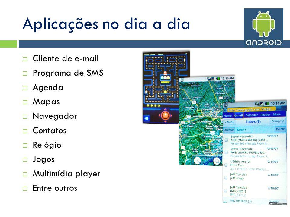 Aplicações no dia a dia Cliente de e-mail Programa de SMS Agenda Mapas Navegador Contatos Relógio Jogos Multimídia player Entre outros