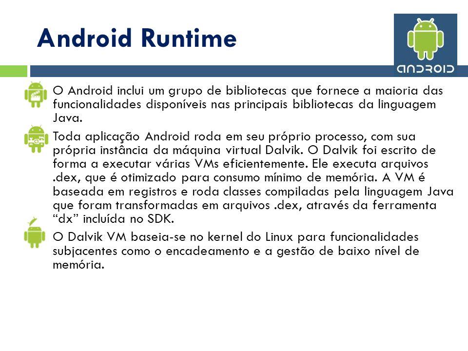 Android Runtime O Android inclui um grupo de bibliotecas que fornece a maioria das funcionalidades disponíveis nas principais bibliotecas da linguagem