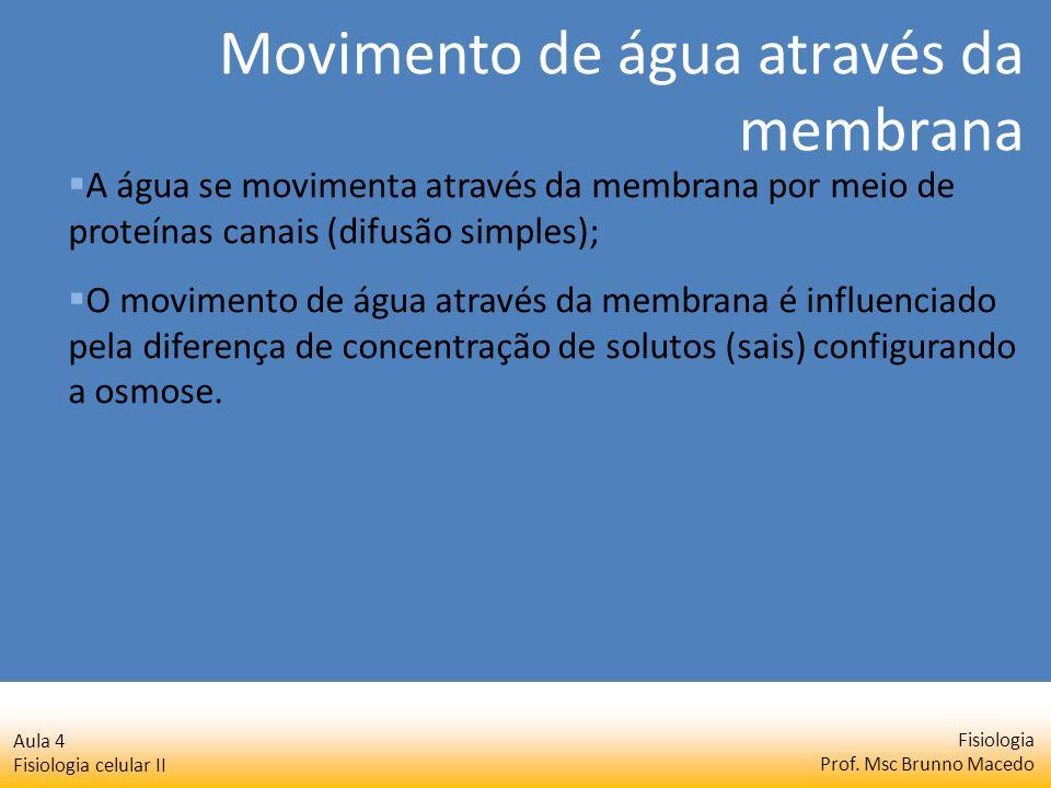 Fisiologia Prof. Msc Brunno Macedo Aula 4 Fisiologia celular II A água se movimenta através da membrana por meio de proteínas canais (difusão simples)