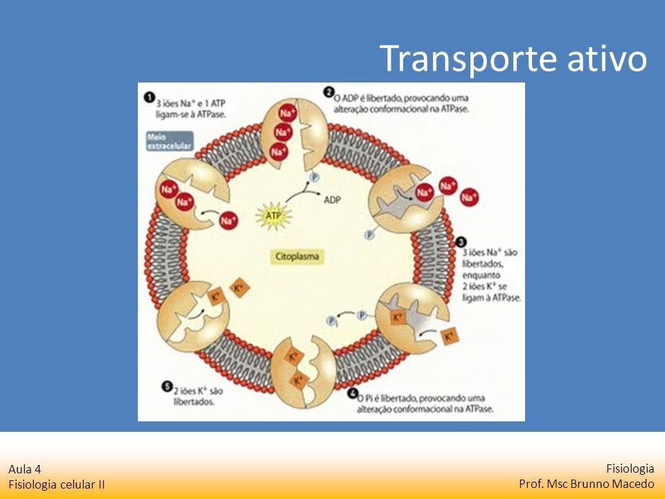 Fisiologia Prof. Msc Brunno Macedo Aula 4 Fisiologia celular II Transporte ativo