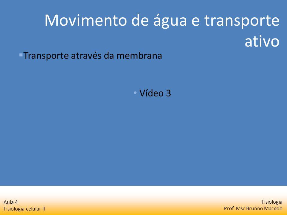 Fisiologia Prof. Msc Brunno Macedo Aula 4 Fisiologia celular II Transporte através da membrana Vídeo 3 Movimento de água e transporte ativo
