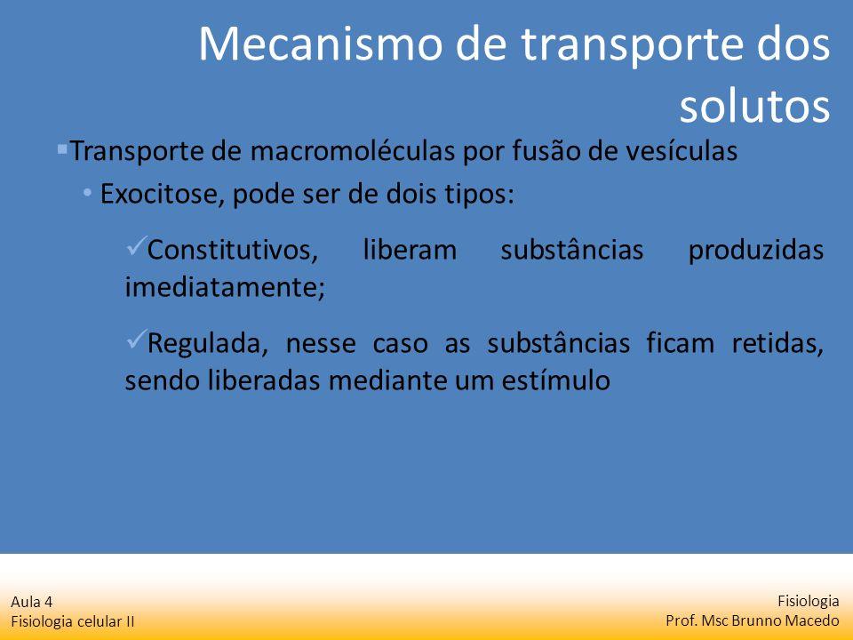 Fisiologia Prof. Msc Brunno Macedo Aula 4 Fisiologia celular II Exocitose, pode ser de dois tipos: Constitutivos, liberam substâncias produzidas imedi