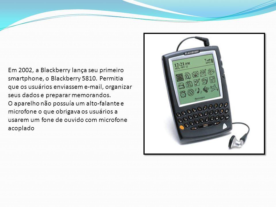 Em 2002, a Blackberry lança seu primeiro smartphone, o Blackberry 5810. Permitia que os usuários enviassem e-mail, organizar seus dados e preparar mem