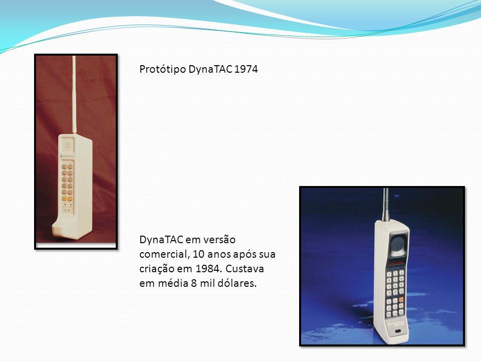 Protótipo DynaTAC 1974 DynaTAC em versão comercial, 10 anos após sua criação em 1984. Custava em média 8 mil dólares.