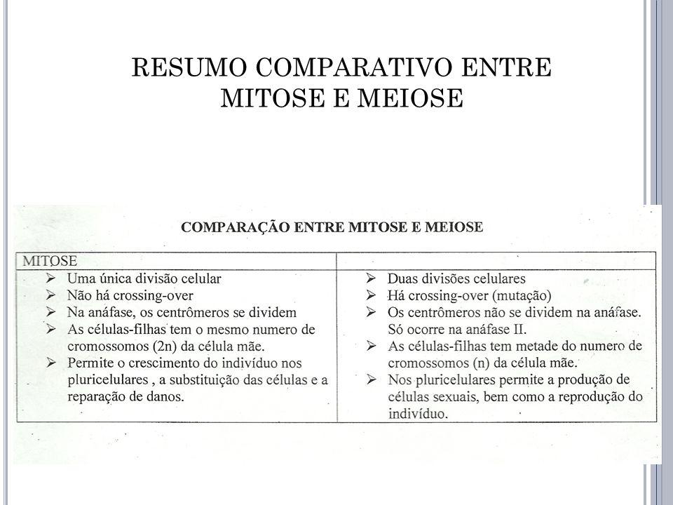 RESUMO COMPARATIVO ENTRE MITOSE E MEIOSE