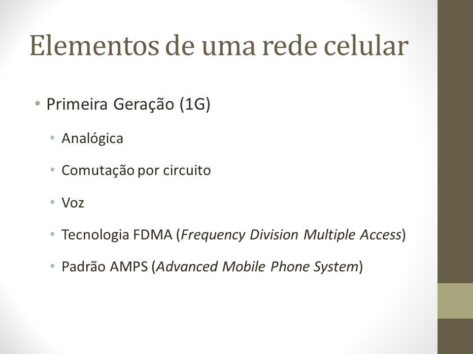 Elementos de uma rede celular Segunda Geração (2G) Digital Comutação por circuito Mensagem Taxa de transmissão 14 Kbps TDMA (Time Division Multiple Acess) CDMA (Code Division Multiple Access) GSM (Global System for Mobile Communications)
