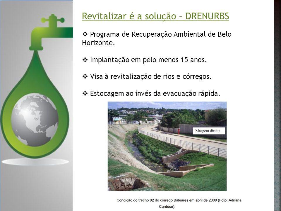 Revitalizar é a solução – DRENURBS Programa de Recuperação Ambiental de Belo Horizonte. Implantação em pelo menos 15 anos. Visa à revitalização de rio