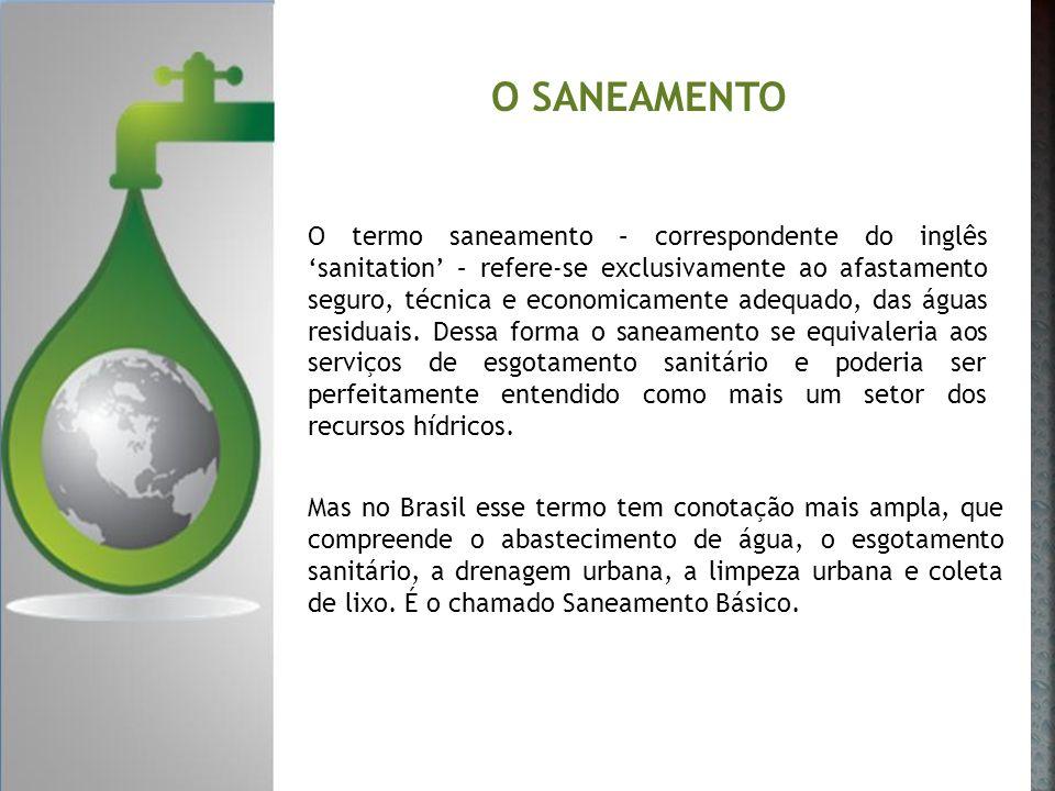 O SANEAMENTO O termo saneamento – correspondente do inglês sanitation – refere-se exclusivamente ao afastamento seguro, técnica e economicamente adequ
