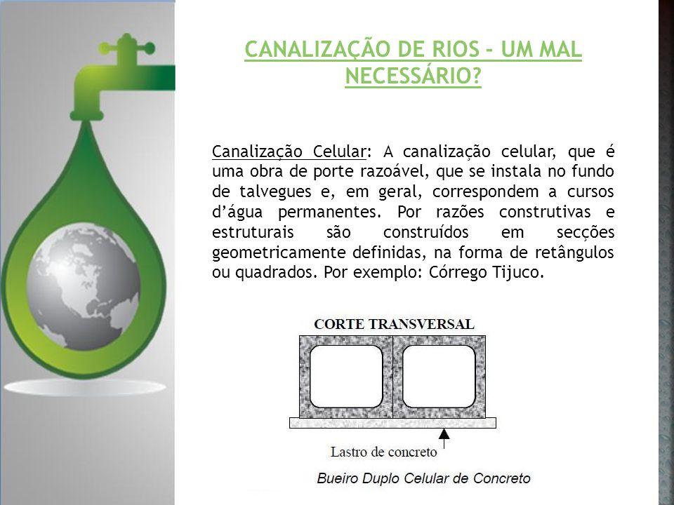 CANALIZAÇÃO DE RIOS - UM MAL NECESSÁRIO? Canalização Celular: A canalização celular, que é uma obra de porte razoável, que se instala no fundo de talv
