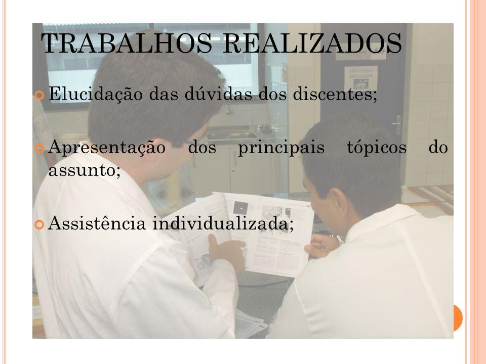 TRABALHOS REALIZADOS Auxílio na elaboração de trabalhos; Prestação de auxílio aos professores nas aulas práticas; Elaboração de simulados; Organização das avaliações práticas;