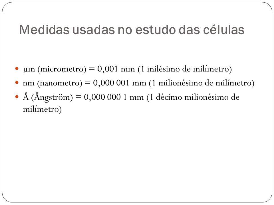 Medidas usadas no estudo das células µm (micrometro) = 0,001 mm (1 milésimo de milímetro) nm (nanometro) = 0,000 001 mm (1 milionésimo de milímetro) Å